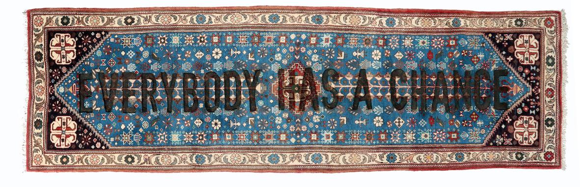 Loredana Longo, Carpet # 28- Everybody has a chance 2019 burning on Abadeh carpet, 295x80 cm © Loredana Longo courtesy Sahrai Milano/London , Galleria Francesco Pantaleone Palermo/MIlan