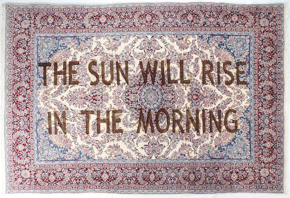 Loredana Longo, Carpet # 30 - The sun will rise in the morning 2019 burning on Ravar carpet, 300x200 cm © Loredana Longo courtesy Sahrai Milano/London , Galleria Francesco Pantaleone Palermo/MIlan