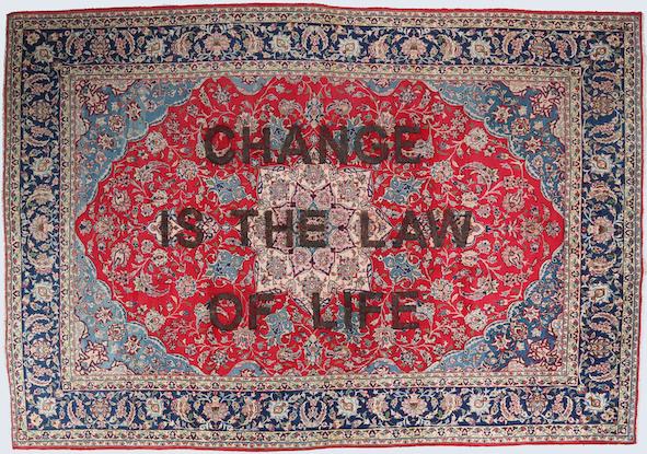 Loredana Longo, Carpet # 35 - Change is the law of life 2019 burning on Esfahan carpet, 375x260 cm © Loredana Longo courtesy Sahrai Milano/London , Galleria Francesco Pantaleone Palermo/MIlan