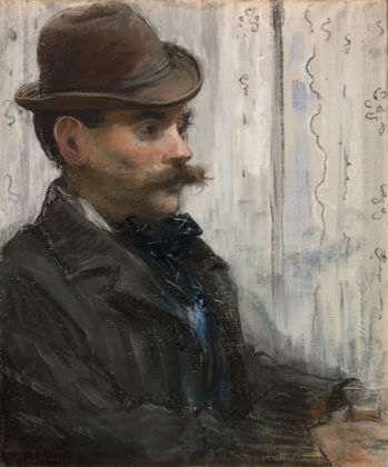 Édouard Manet French, 1832 - 1883 The Drinker (Alphonse Maureau), about 1878 - 1879 Pastel on canvas Unframed: 54.7 × 45.2 cm (21 9/16 × 17 13/16 in.) The Art Institute of Chicago, Bequest of Kate L. Brewster, 1950.123 EX.2019.3.59