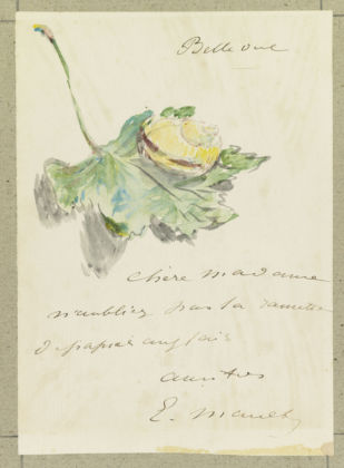 Édouard Manet French, 1832 - 1883 Letter Decorated with a Snail on a Leaf, Summer or Autumn 1880 Watercolor over gray wash (design); pen and ink (text) 15.8 × 11.7 cm (6 1/4 × 4 5/8 in.) The J. Paul Getty Museum, Los Angeles 2019.7