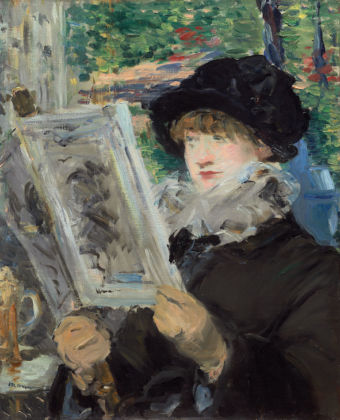 Édouard Manet French, 1832 - 1883 Woman Reading, about 1880-1881 Oil on canvas Unframed: 61.2 × 50.7 cm (24 1/8 × 19 15/16 in.) The Art Institute of Chicago, Mr. and Mrs. Lewis Larned Coburn Memorial Collection, 1933.435 EX.2019.3.55
