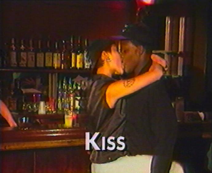 """Catherine Gund & Julie Tolentino, """"B.U.C.K.L.E"""" (1994), video still, 11'. Courtesy Cinenova"""