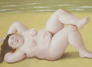 Fernando Botero, Woman on a Beach, 2002 Pastello su tela