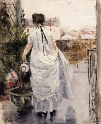 Berthe Morisot, Giovane donna che annaffia un arbusto, 1876. Collection of Mr. and Mrs. Paul Mellon