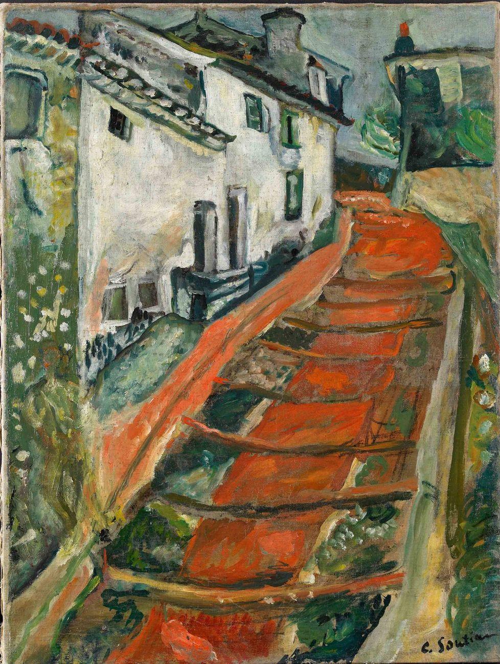 Chaïm Soutine, L'Escalier rouge à Cagnes, 1918 ca., olio su tela, 61,6 x 46,5 cm. Collezione Jonas Netter