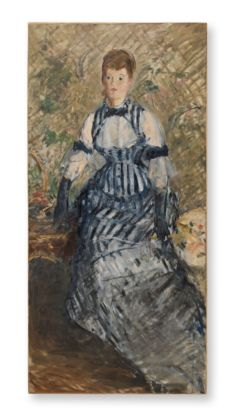 Édouard Manet, Femme en robe à rayures, 1877-80 ca. Solomon R. Guggenheim Museum, New York. Thannhauser Collection, Donazione Justin K. Thannhauser © Solomon R. Guggenheim Foundation, New York (SRGF)