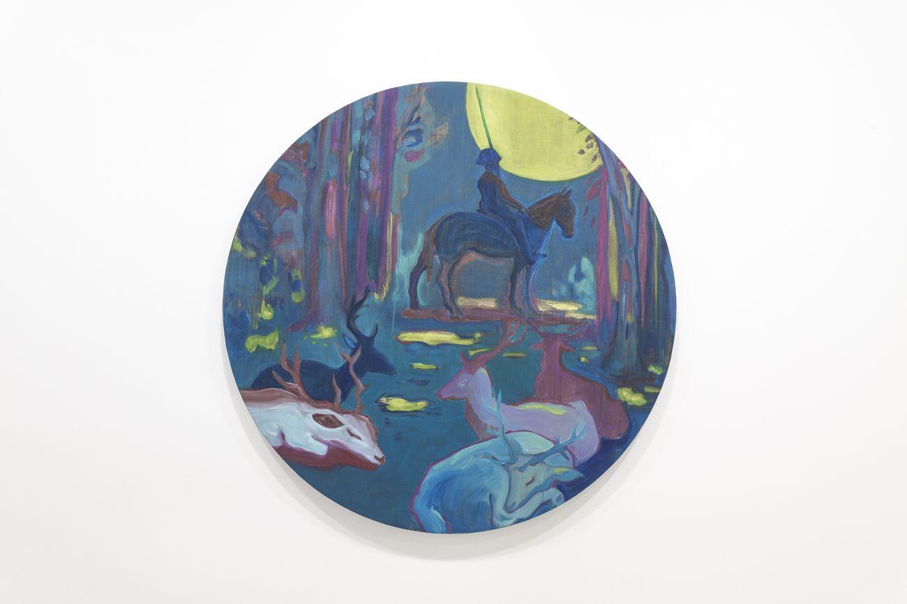Elena Ricci, Veglia, 2018, olio su tela, diam. cm 120 © Elena Ricci. Courtesy Viasaterna