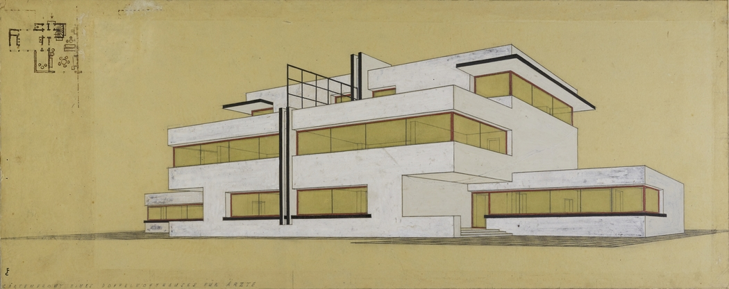 Garden front of a pair of semi detached houses for doctors, by Carl Fieger (c) Stiftung Bauhaus Dessau