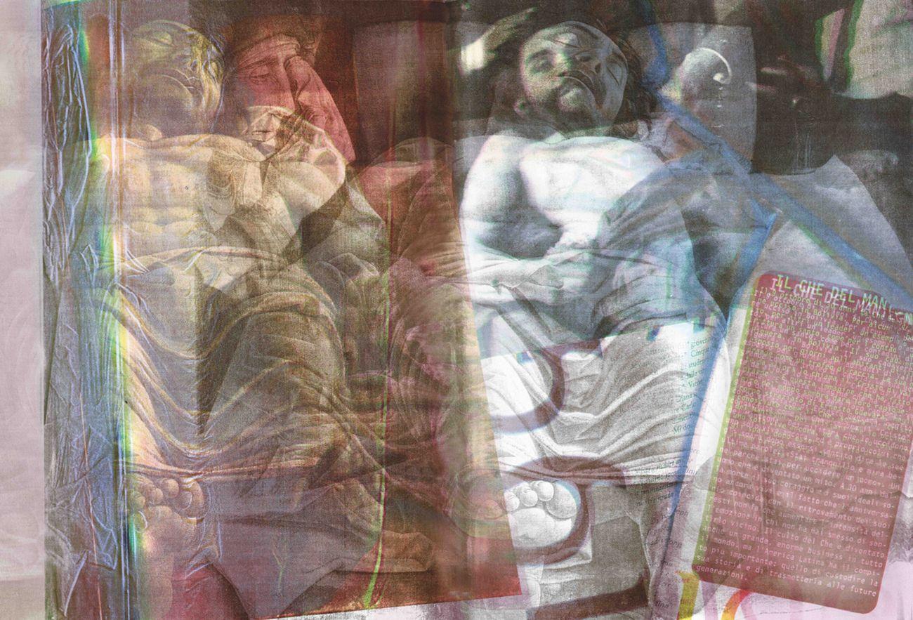 Gianluigi Colin, Da Andrea Mantegna, Il Cristo morto; Freddy Alborta, Che Guevara morto, 1997