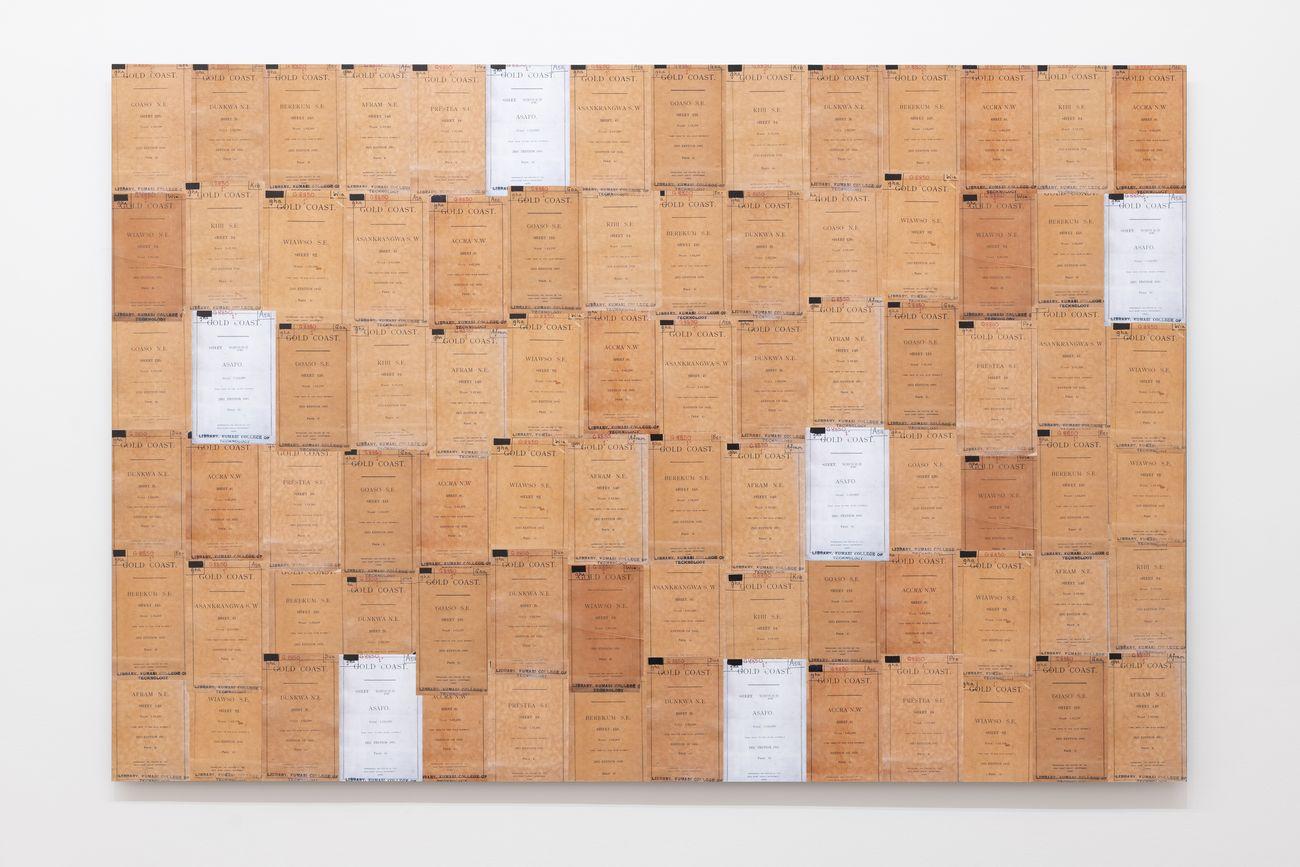 Ibrahim Mahama, Gold Coast, 1945 2019. Installation view at Fondazione Giuliani, Roma 2019. Photo Giorgio Benni