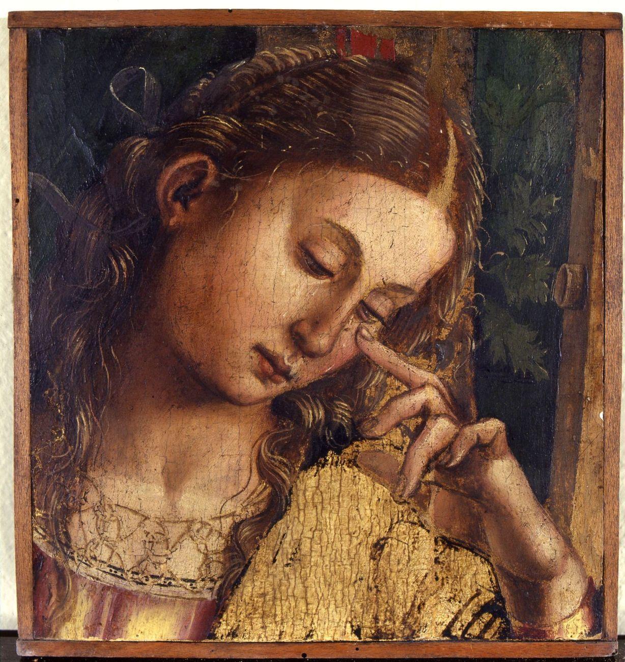 Luca Signorelli, Pia donna in pianto, 1504-1505, olio su tavola, frammento del Compianto sul Cristo, già nella Chiesa di Sant'Agostino a Matelica, (pala Matelica), olio su tavola, Bologna, Collezioni Comunali