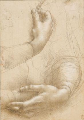 Leonardo da Vinci, Studio di mani © Royal Collection Trust © Her Majesty Queen Elizabeth II 2019