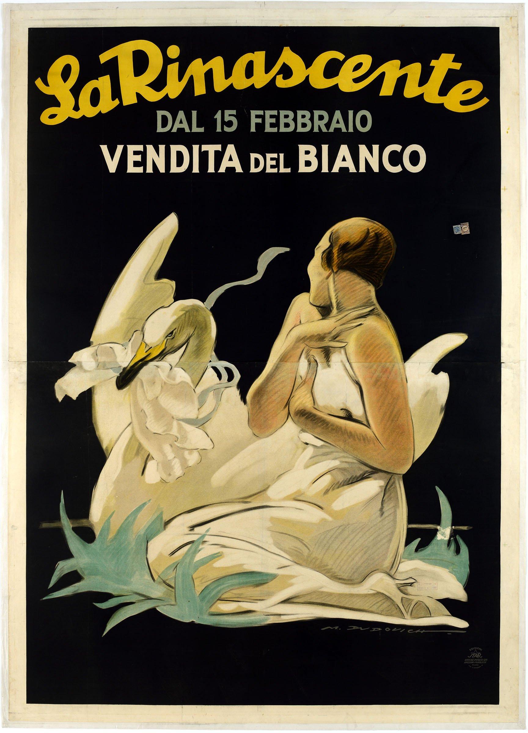 Marcello Dudovich, La Rinascente. Dal 15 Febbraio Vendita del Bianco, 1922 26 ca. Edizioni Star, Milano. Museo Nazionale Collezione Salce, Treviso