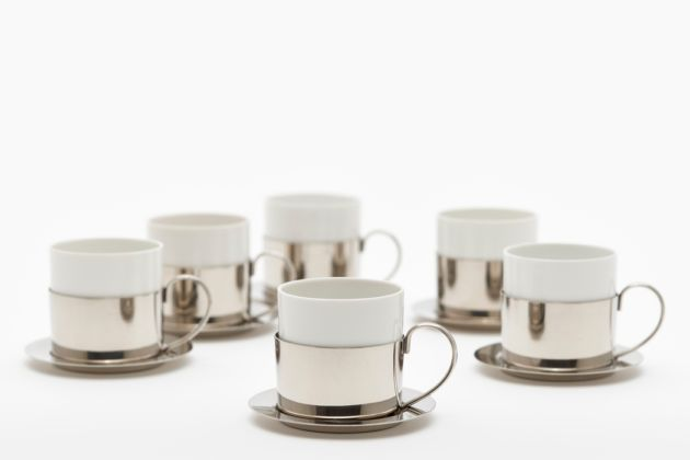 Mocha cups with porcelain insert and saucers, photo credit Gunter Binsack