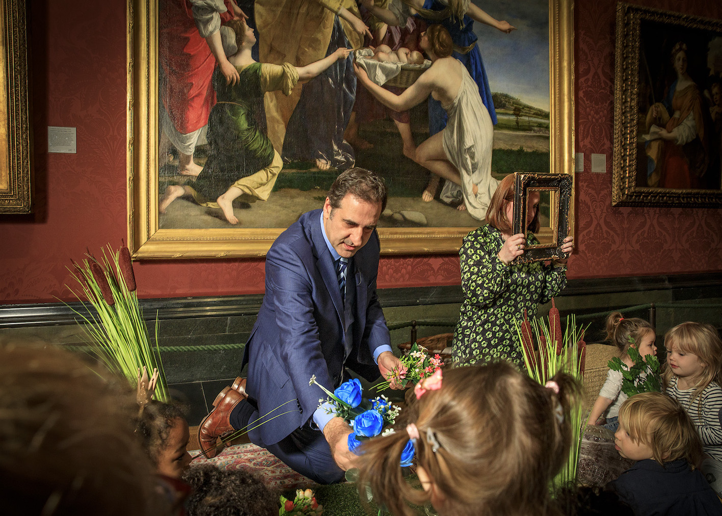 National Gallery Director, Dr Gabriele Finaldi, launching the #SaveOrazio Appeal by hosting a The Finding of Moses storytelling session with a group of children from the Soho Family Centre. Photo © The National Gallery, London
