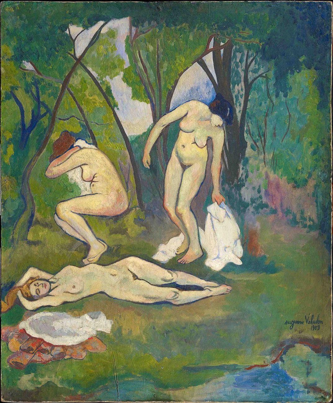 Suzanne Valadon, Trois nus à la campagne, 1909, olio su cartone, 61 x 50 cm. Collezione Jonas Netter