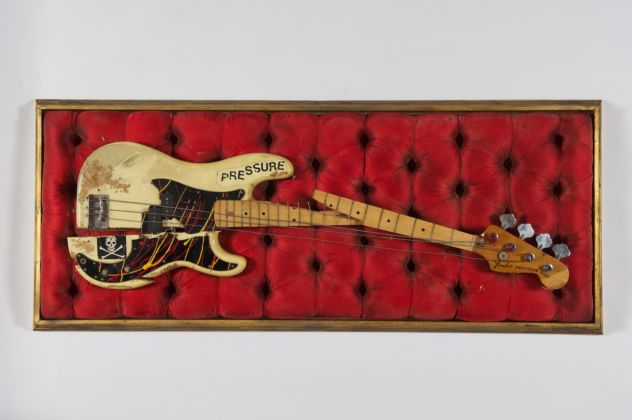 Simonon's Fender Precision Bass was damaged on stage at The Palladium in New York City on 21st September 1979, as Simonon smashed it on the floor in an act of spontaneous and complete frustration. © The Clash