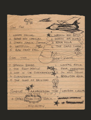 Handwritten album sequence note by Mick Jones Further info: Handwritten list of songs, placed here in correct order for the 4 sides of the double album London Calling. © The Clash