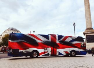 York Pullman Coaches wrapped in British flag, courtesy Mark Hinchliffe