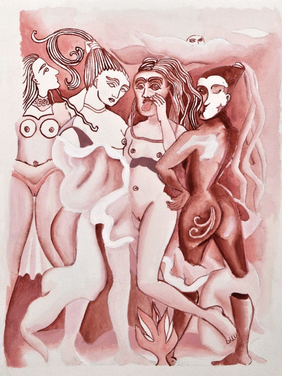 "Viola Leddi, Preparatory sketch for the painting ""Capricci"", 2018, acrylic on paper, 33 x 24 cm"