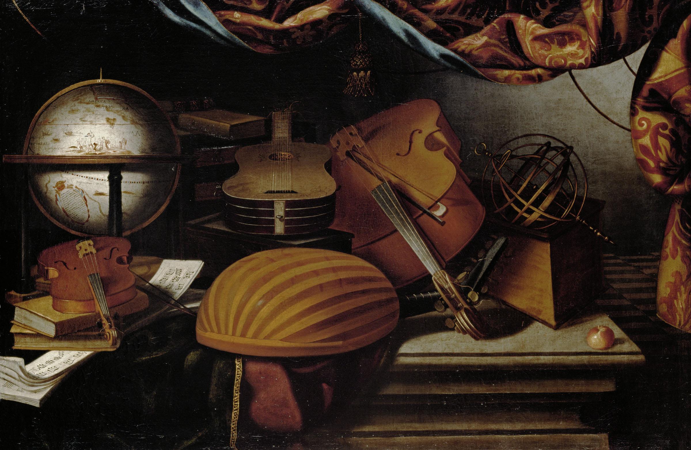 Evaristo Baschenis, Natura morta con strumenti musicali, terracqueo e sfera armillare, XVII secolo, olio su tela, 78 × 118 cm GG 9148 Kunsthistorisches Museum Vienna, Pinacoteca Courtesy KHM-Museumsverband