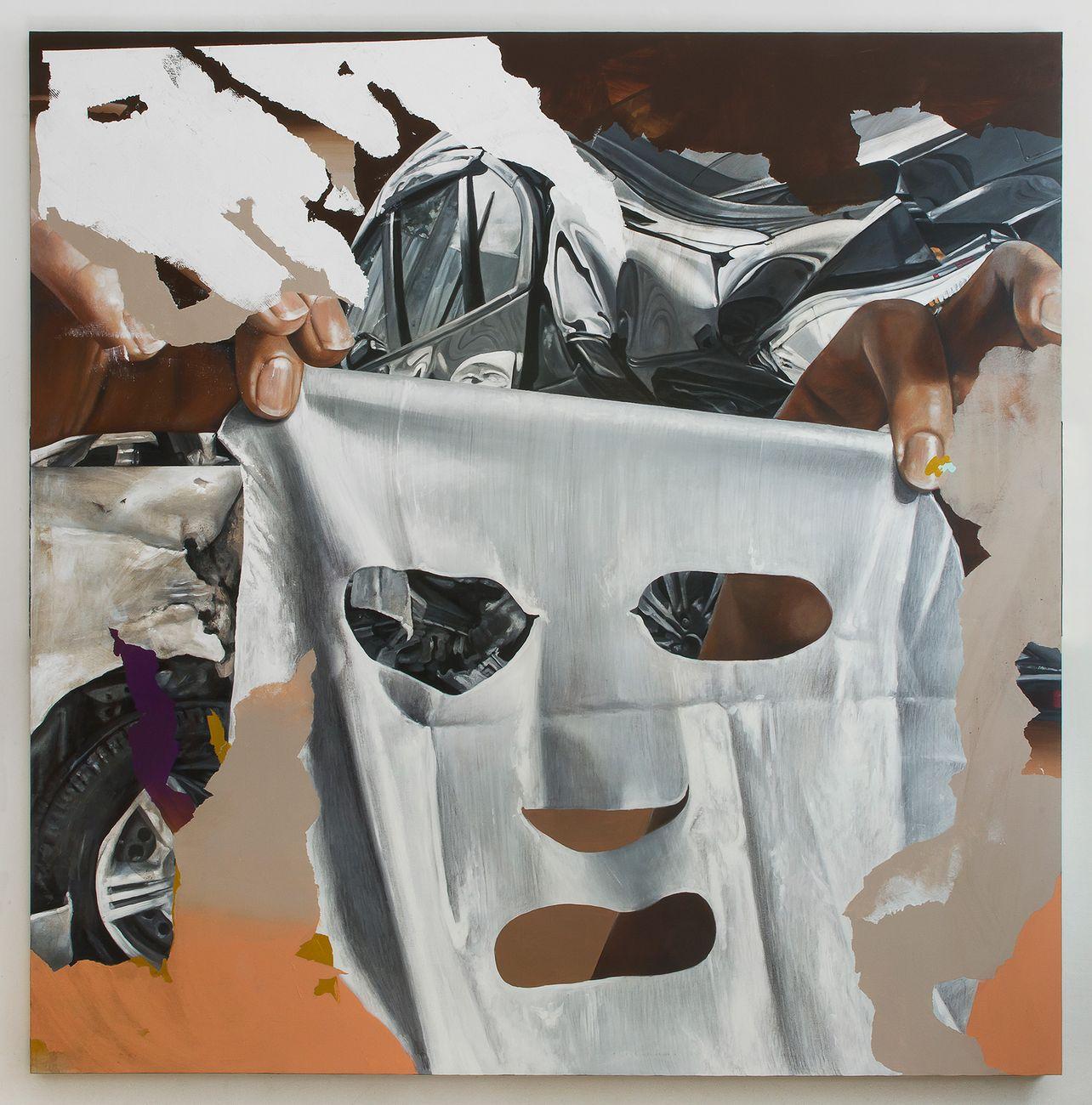 Andrea Martinucci, 5092019.jpeg, acrilico, terra, grafite e acciaio su tela, 200x200x4cm. Courtesy l'artista