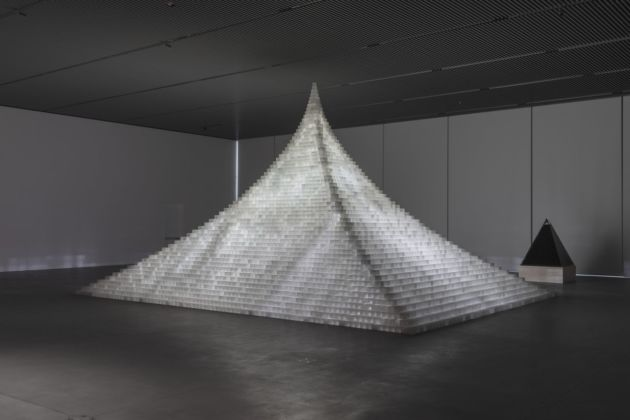 Agnes Denes, Model for Probability Pyramid—Study for Crystal Pyramid, 2019. Photo Stan Narten. Commissioned by The Shed. Courtesy the artist & Leslie Tonkonow Artworks + Projects
