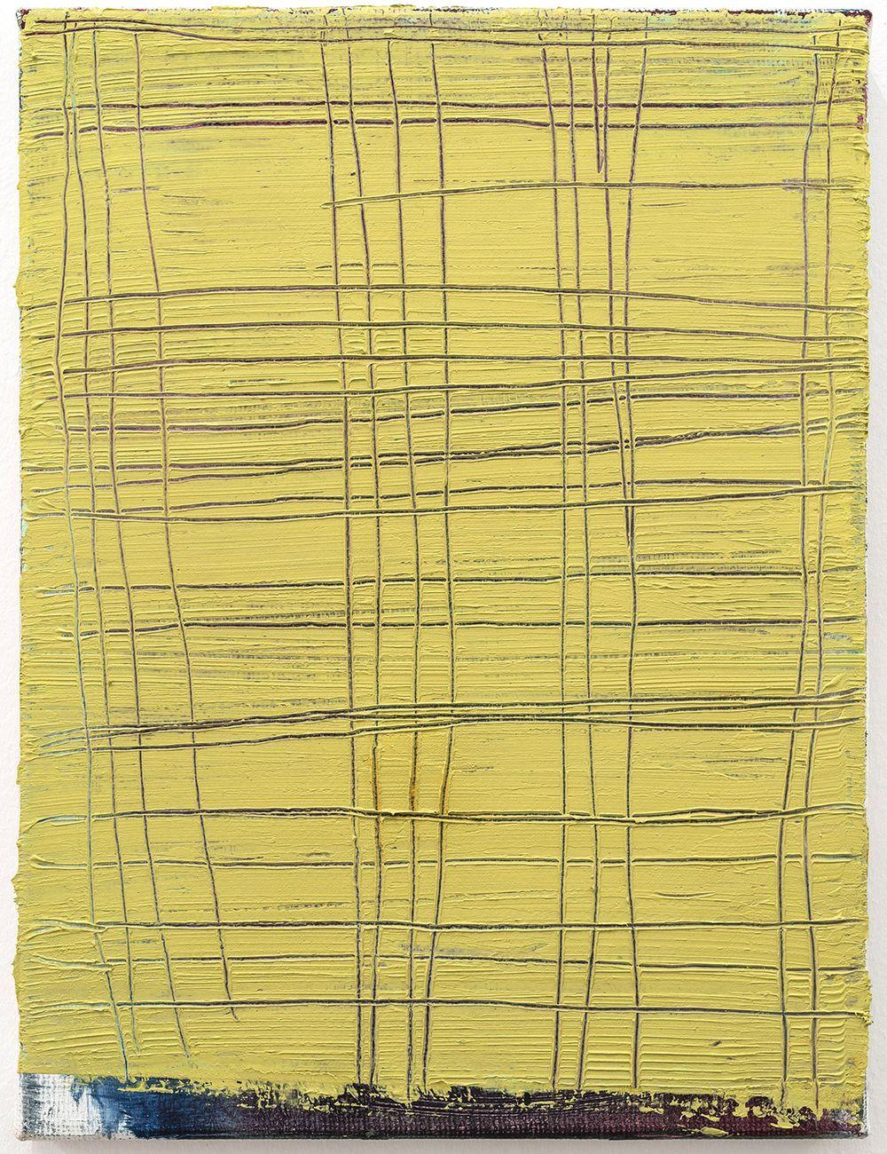 Alessandro Sarra, Senza titolo, 2017, olio e graffio su tela, cm 40x30