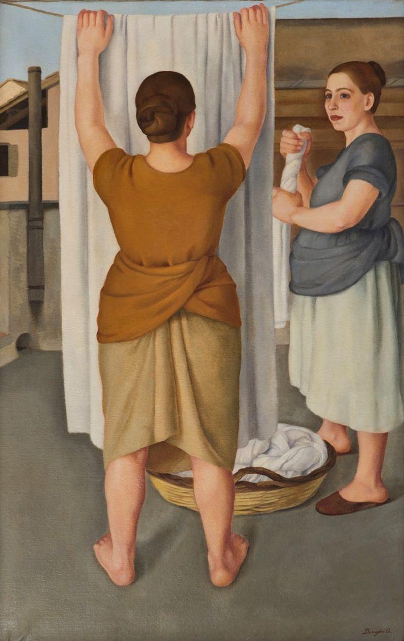 Antonio Donghi, Le lavandaie, 1922. Courtesy Galleria Russo, Roma