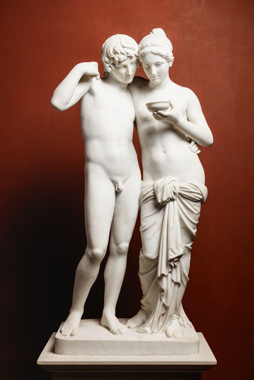 Bertel Thorvaldsen, Amore e Psiche, 1861 (eseguito da Georg Christian Freund con la supervisione di H.W. Bissen dal gesso originale), marmo, 135 x 66,6 x 42,7 cm. Copenaghen, Thorvaldsens Museum
