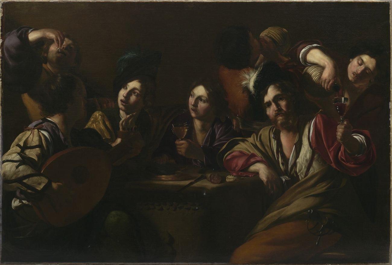 Bartolomeo Manfredi, Scena in taverna, 1619 20 ca.
