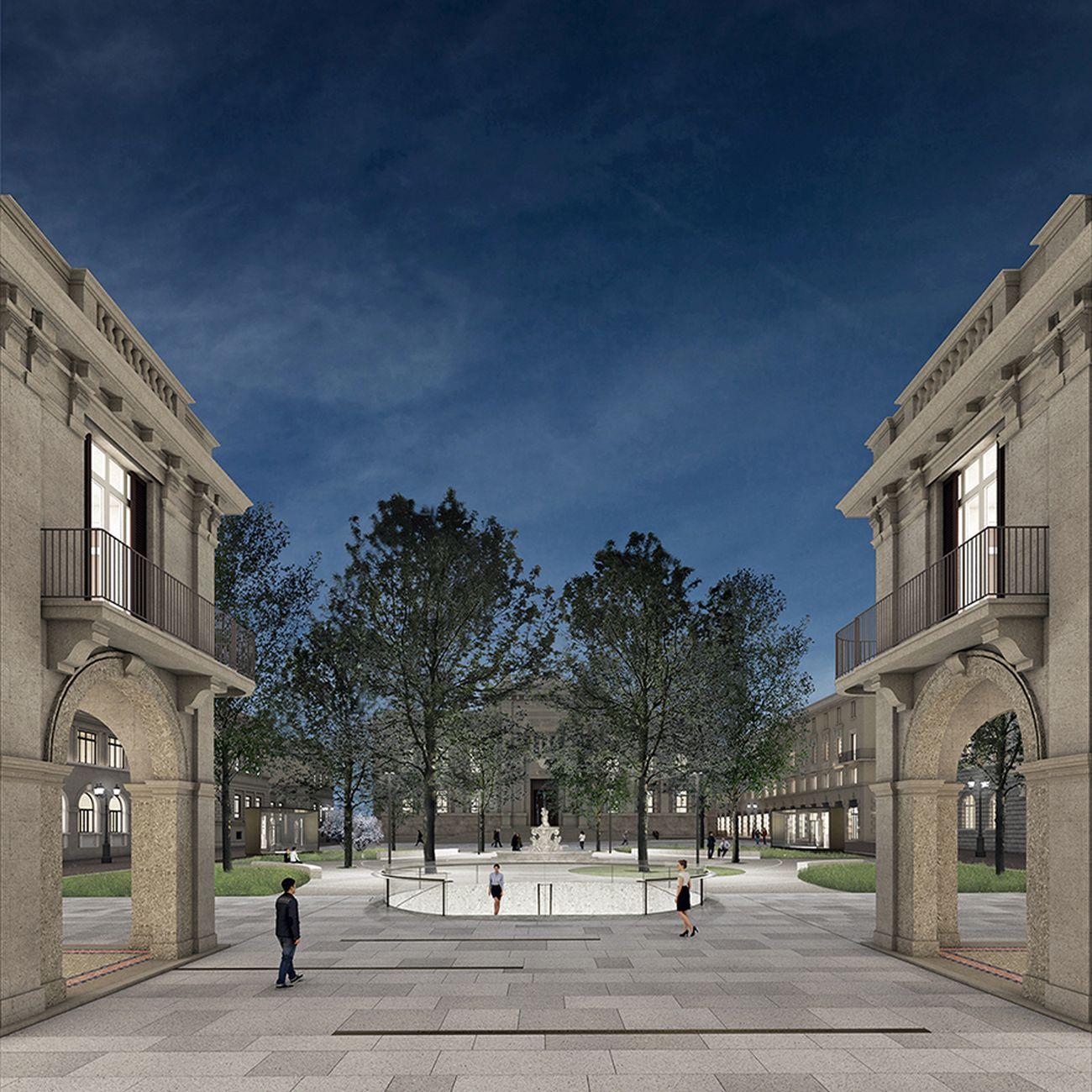 Centro Piacentiniano, Bergamo. Vista su Piazza Dante in notturna. Photo credit Gruppo Flânerie