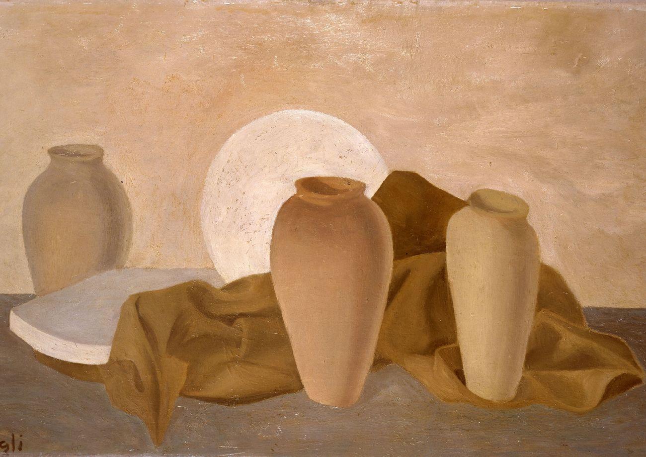 Corrado Cagli, I vasi, 1934, olio su tavola, 55x85 cm. Collezione Jacorossi, Roma