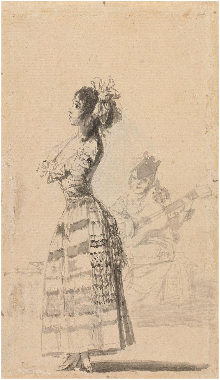 Francisco de Goya, Joven bailando al son de una guitarra, Cuaderno de Sanlúcar [A], e, 1794-95. Madrid, Museo Nacional del Prado