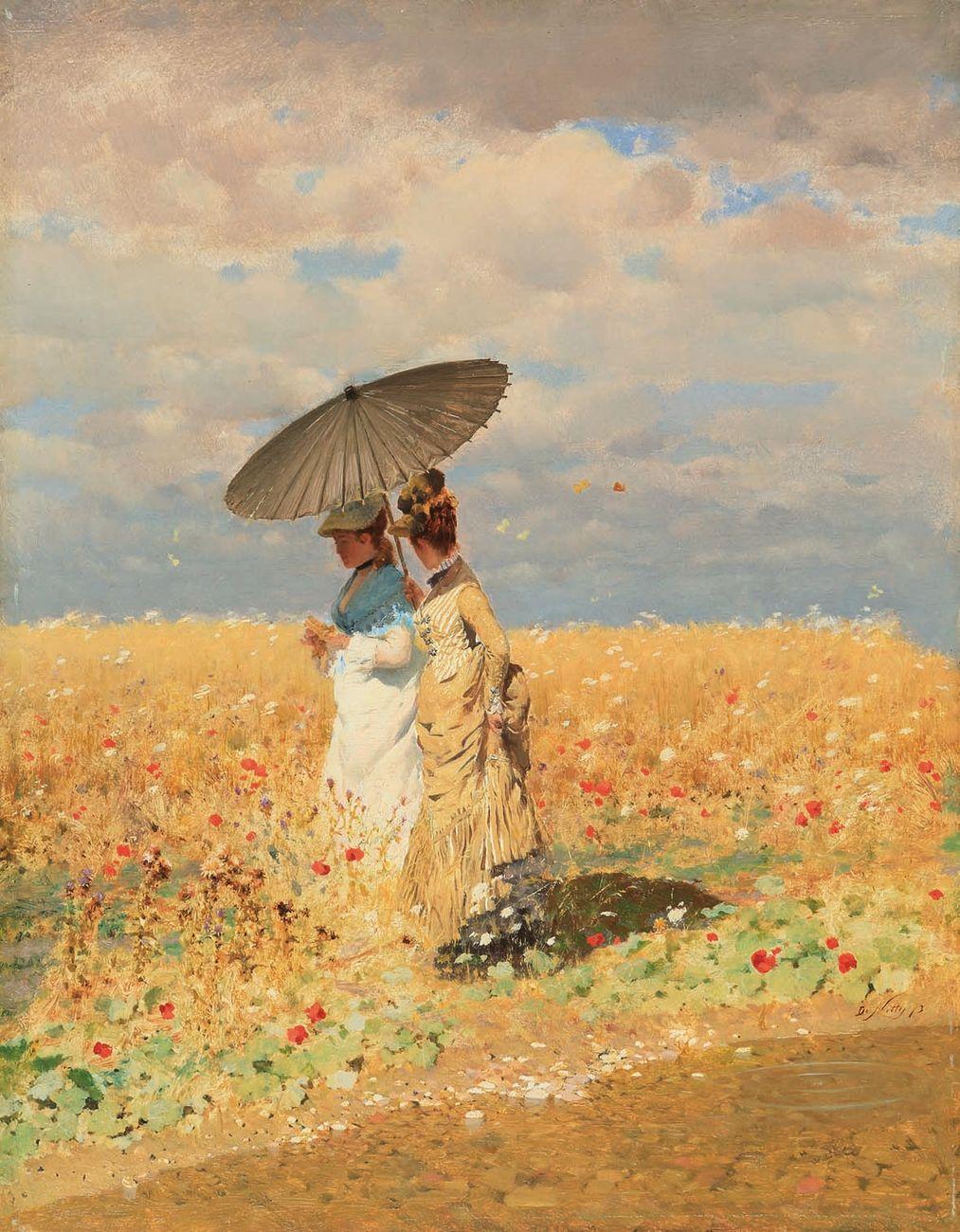Giuseppe De Nittis, Nel grano, 1873, olio su tela, cm 33 x 25. Collezione privata