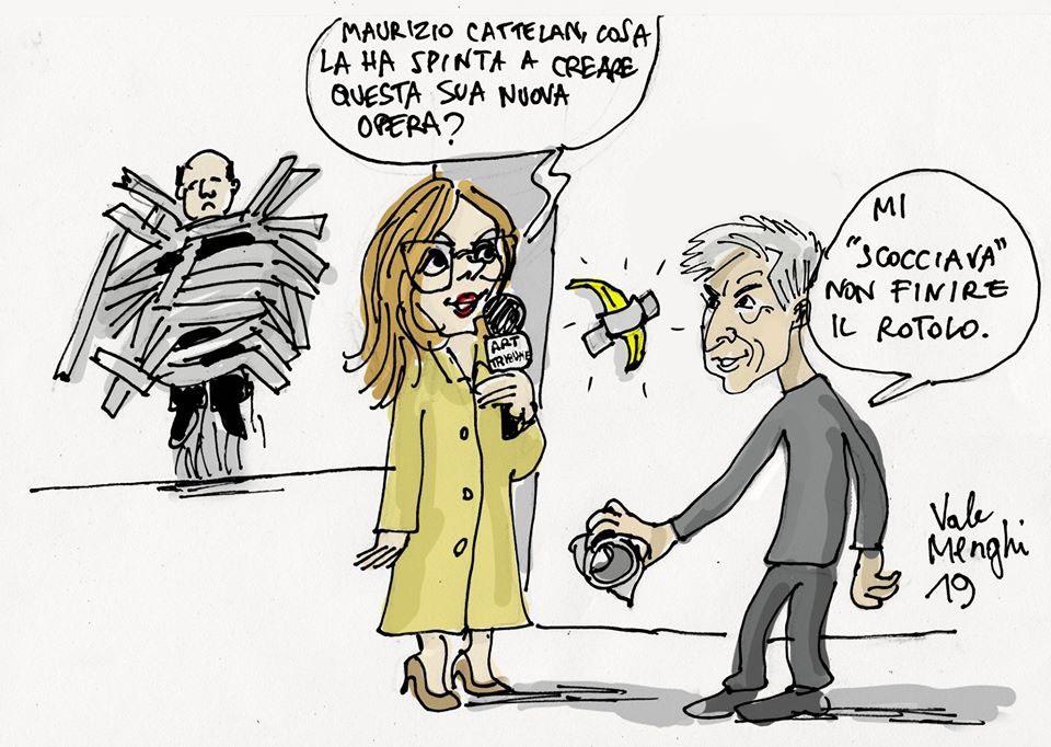 Helga Marsala che intervista Cattelan nella vignetta di Valentino Menghi