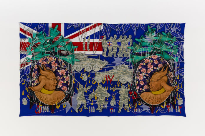 Khadim Ali - Untitled #2 from Fragmented Memories series, 2017/2018 cotton and nylon thread and ink on fabric 180x318cm