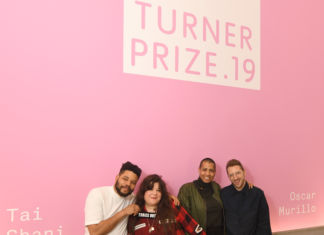 MARGATE, ENGLAND - DECEMBER 03: Turner Prize 2019 nominees, (L-R) Oscar Murillo, Tai Shani, Helen Cammock and Lawrence Abu Hamdan pose for a portrait ahead of the Evening Drinks Reception before the winner of Turner Prize 2019 is announced by Edward Enniful, Editor in Chief of British Vogue on December 03, 2019 in Margate, England. (Photo by Stuart C. Wilson/Stuart Wilson/Getty Images for Turner Contemporary) - detail