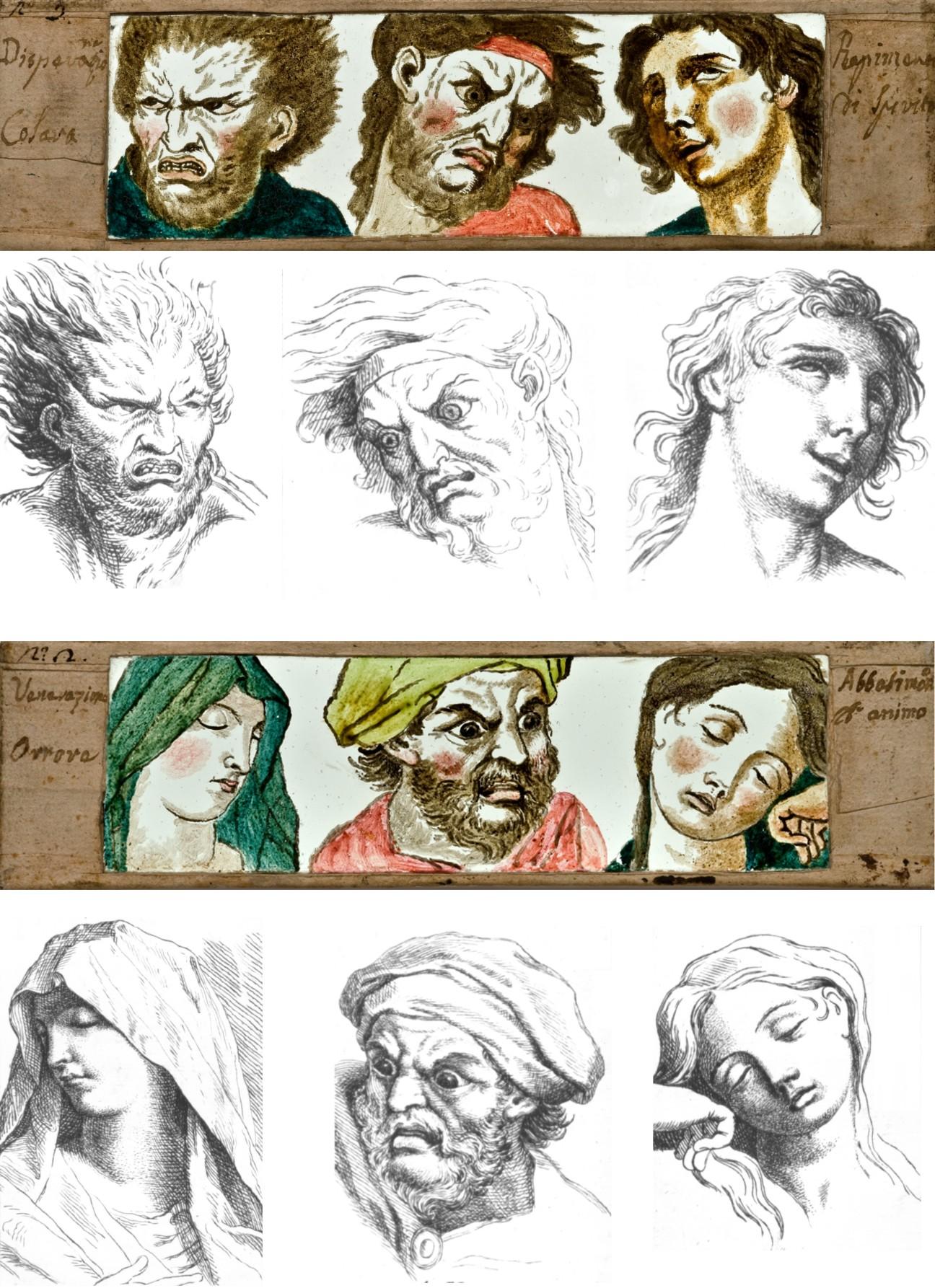 Vetri per lanterna magica dipinti a mano tratti dai disegni di Charles Le Brun. Italia, II metà XVIII sec. Collezione Museo Nazionale del Cinema