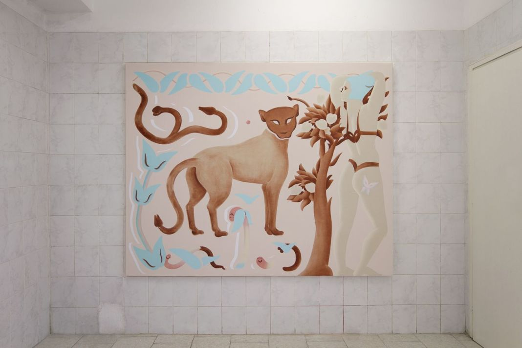 Viola Leddi, Lovable Creatures III, 2019, two components, oil and acrylic on canvas, 215 x 171 and 116 x 171 cm. Photo siliqoon agency