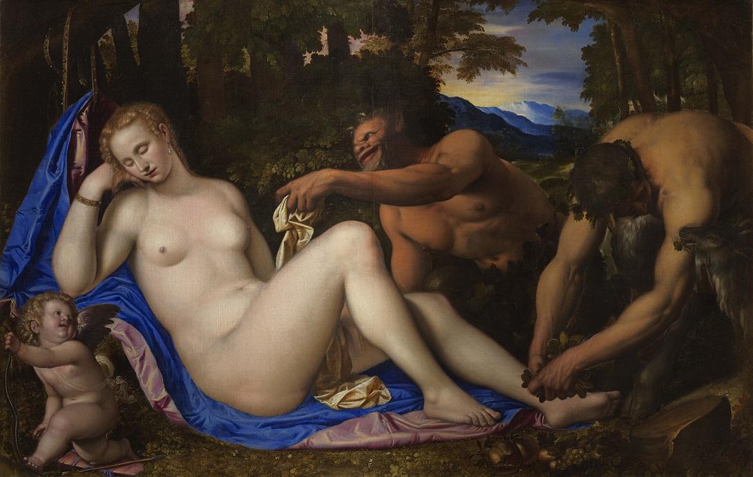 Simone Peterzano , Venere e Cupido con due satiri nel paesaggio 1570 1573, olio su tela Milano, Pinacoteca di Brera