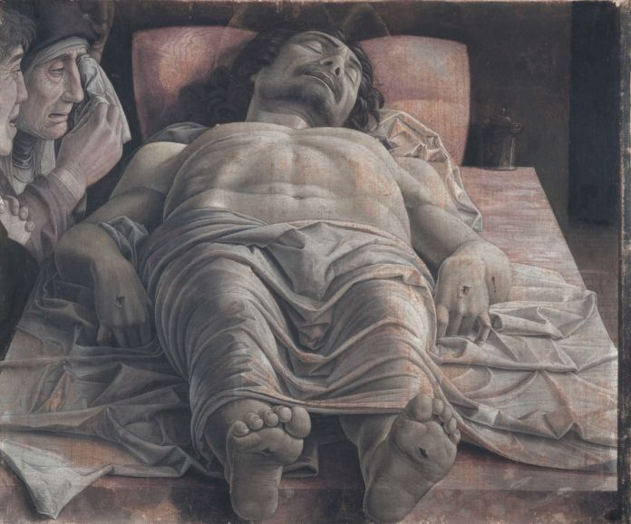The dead Christ and three mourners*tempera on canvas*68 × 81 cm *1470 1474