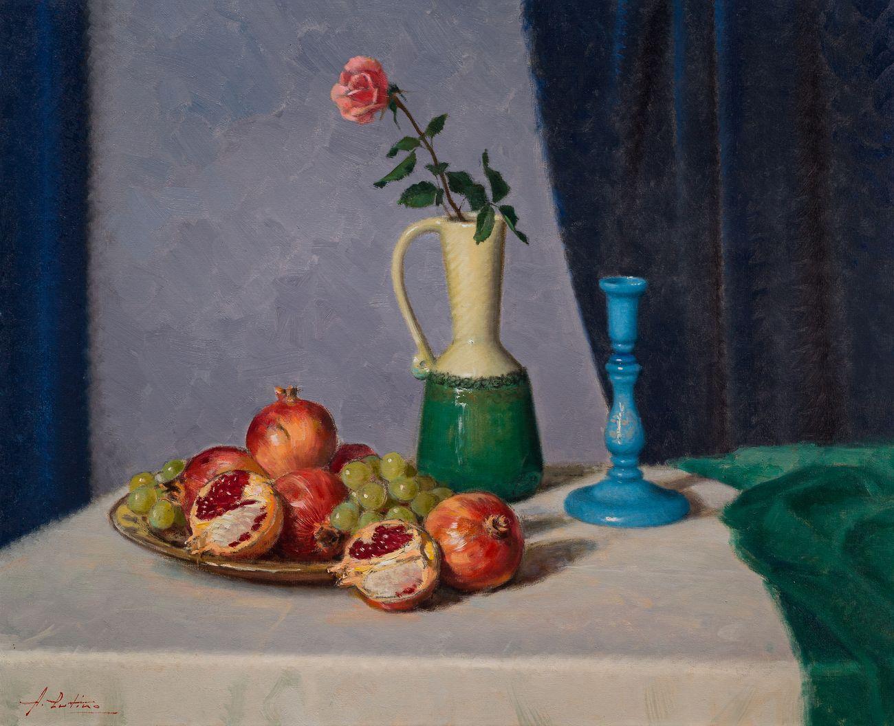 Antonio Cutino, Natura morta con uva, 1961, olio su tela, cm 80x65, collezione privata