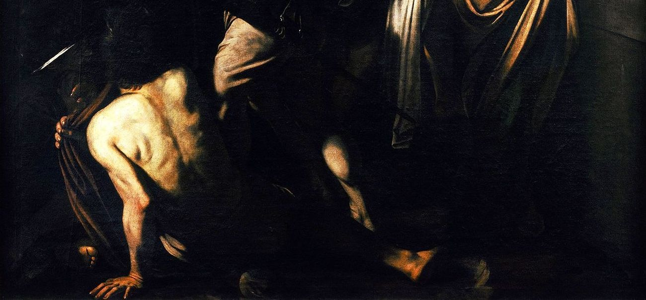 Caravaggio, Sette opere di Misericordia, 1606 7, dettaglio. Pio Monte della Misericordia, Napoli