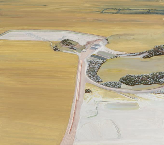 Carol Rhodes, Surface Mine, 2009 – 2011, olio su tavola, cm 50x56.5. Courtesy of the Estate of Carol Rhodes