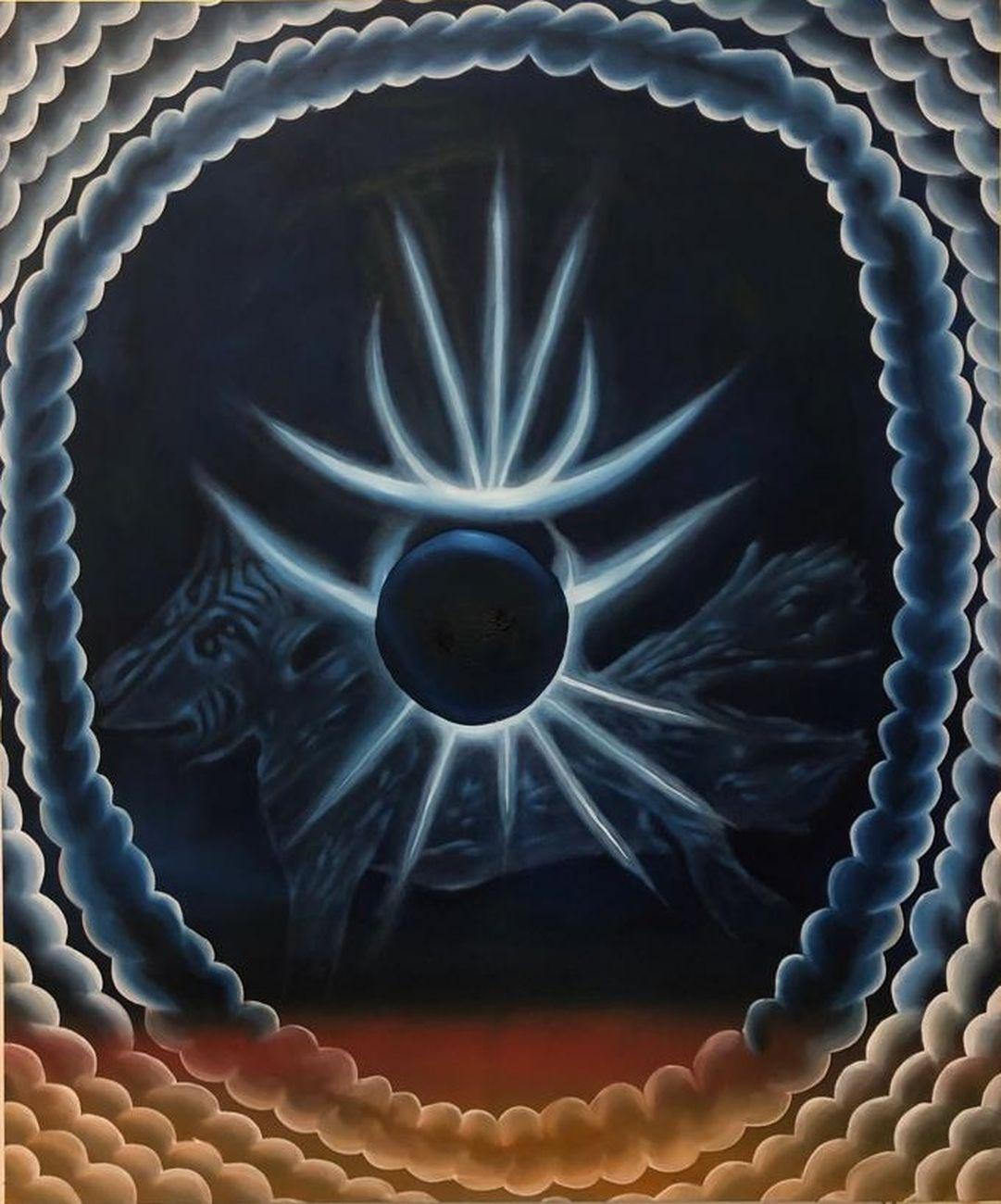 Diego Gualandris, Scoiattolo dell'Apocalisse, 2019, olio e acrilico su tela, 100x80 cm
