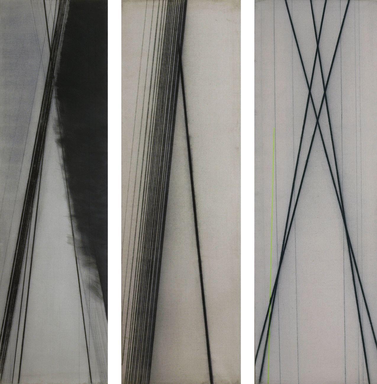 Guido Strazza, Segni di Roma, 1979 80, tempera e carboncino su tela