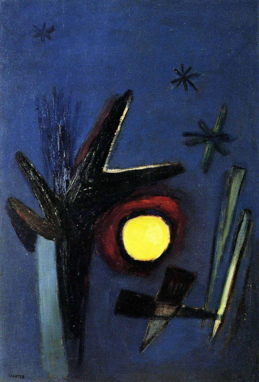 Guido Strazza, Y los perros ladran en las noches, 1953, olio su tela