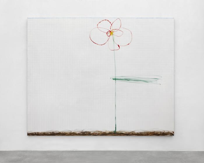 Luca Bertolo, Il fiore di Anna #2, 2019, olio e pastelli su tela, cm 200 x 250. Courtesy Spazio A, Pistoia